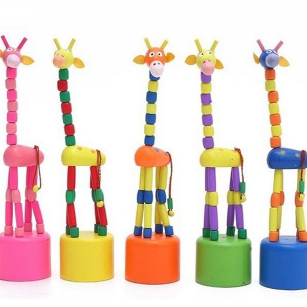 2pcs Colorful Wooden Push Up Jiggle Puppet Giraffe Assorted Animal Decorative Toys FZ2070 Free Shipping(China (Mainland))