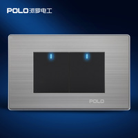 Home Automation, POLO Luxury Panel, US/AU standard, LED indicator, Wall switch, Light switch, Flat Reset switches, 2 Gang 2 Way