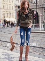 S-L Free Shippig European And America Style Vintage hole elastic denim skinny pants boot cut denim jeans pencil pants 140321#21