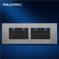 Free Shipping,POLO luxury wall switch panel,197MM*72MM, LED panel, Light switch, Flat switch,110~250V,4 Gang 2 Way