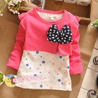 2014 children's spring clothing female child long-sleeve 100% cotton baby princess dress