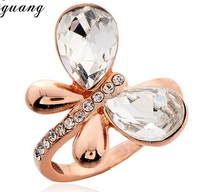 Wholesale 18K Gold Plated Austrian Crystal Rings,Fashion Butterfly Rings,Fashion Wedding Jewelry,CCWMG37512298002