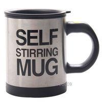 New Black Stainless Plain Lazy Self Auto Mixing Tea Cup Self Stirring Mug Coffee Soup Hot 95265