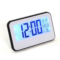 New Digital Voice Control Back-Light LCD Clock Calendar Temp White Black Alarm Display 95274