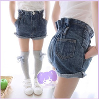 children's baby clothing 2014 summer female child roll up hem denim shorts x-824