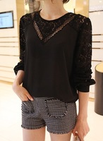 2014 summer elegant full sleeve lace patchwork chiffon ladies blouses color white black blusa free shipping