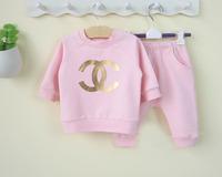 Hot selling new 2014 spring & autumn clothes baby clothing set 2pcs pink long sleeve coat+pants newborn set free shipping