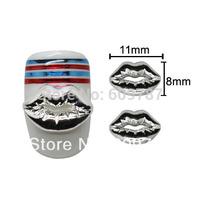 Free shipping 50pcs/lot 3D Silver Sexy Lip Nail Art UV Tips Slices Decorations