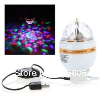 Portable 3W RGB USB LED Stage Lamp Rotating Laser Light Party DJ Xmas Club Bulb