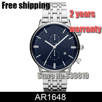 NEW AR1648 AR 1648 CLASSIC STAINLESS STEEL Blue DIAL MENS WATCH Fashion Casual Watch Men Sports Wristwatches + ORIGINAL BOX