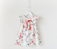 New 2014 flowers cotton girl dress summer baby girl dresses kids clothes fashion child girl clothing party dress