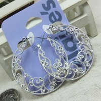 Free shipping 2014 new style best-selling charming beautiful jewelry accessories fashion vintage antique silver cutout earrings