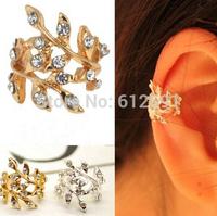 Fashion crystal flower ear cuffs flash drilling olive none pierced ear clip earrings ear cuff adjustable earrings girl LM-C279