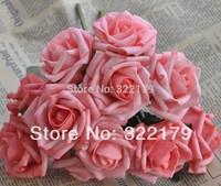 2014 New 100 pcs/lot Coral Artificial Flowers Coral Wedding Flowers Foam Roses Table Centerpiece Brides Bouquet Flower