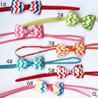 Free Shipping Children Wavy Hair Band Kids Baby  Chevron Ribbon Bow headband
