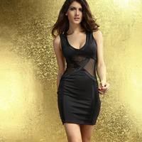2014 Sexy Summer Women Seductive Party Mini Slim Hip Back Zipper Dress with Tulle Insert Black Orange Green HF2917 Free Shipping