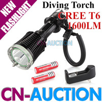 FS! CREE XM-L T6 LED 1600LM Professional Diving Flashlight Torch for Outdoor Sports + 2PCS 18650 Battery + Charger (CN-CLF24)