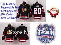 2014 Stadium Series Chicago Blackhawks Ice Hockey Jerseys #20 Brandon Saad Black Red Jersey Free shipping New Arrival !!!