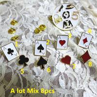 Free Shipping No min order 8pcs/lot 2014 Newest Fashion Brooches Pins Poker Fancy Small Brooch Hearts/clubs/spades Pin Brooch