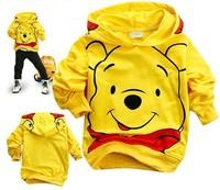 Children's clothing 100% cotton Hooded Sweater  cartoon lovely bear sweatshirt long-sleeve t-shirt