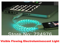 Free shipping Visible Flowing Current USB Cable,Visible Flowing Light USB Data Charger Cable For iphone 4 4S Pad 2 3 50pcs