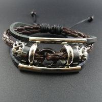 2014 multi-layer beaded genuine leather male bracelet female handmade accessories