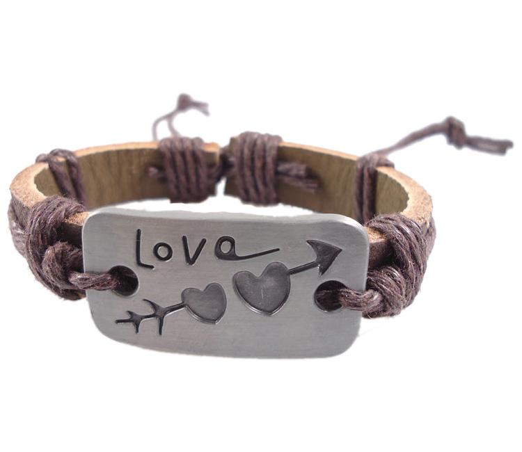 Fashion letter cupid love arrow dcrv genuine leather hemp rope bracelet accessories