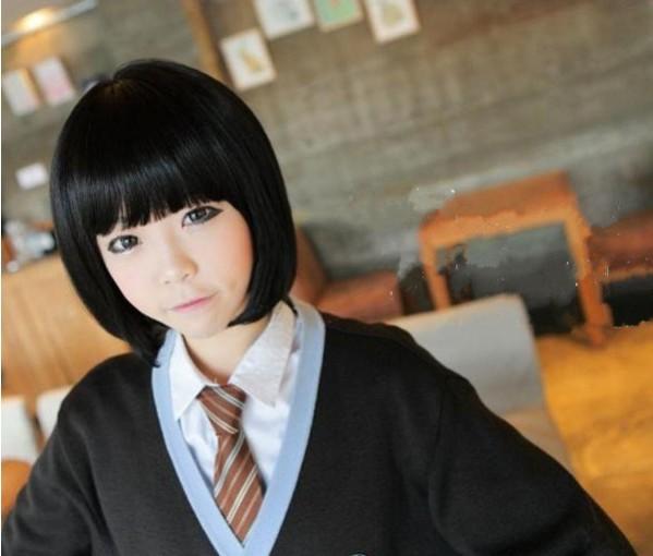 2014 Free Shipping New Style Fluffy Neat Bang Fringe Bob Hairstyle Short Hairpiece Wig Black(China (Mainland))