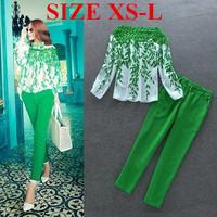 Spring New 2014 Women's Fashion Elegant Print Slash Neck Top Blouse Shirt Pants Set ,Suit Women Clothing