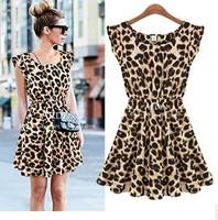 New Hot!! New 2014 Stylish Fashion Women's Sexy Leopard Print Plus Size Ruffles Sleeve  Mini Dress Party Dresses Free Shipping