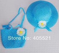Baby Girl Kids Straw Flower Sun Cap Child Summer Party Beach Hat + Bag Set Gift