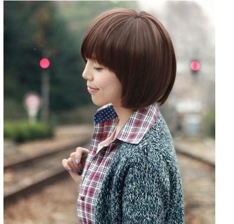 2014 Free Shipping Elegant Female Oblique Bang Bob Hairstyle Short Hairpiece Wig Deep Brown(China (Mainland))