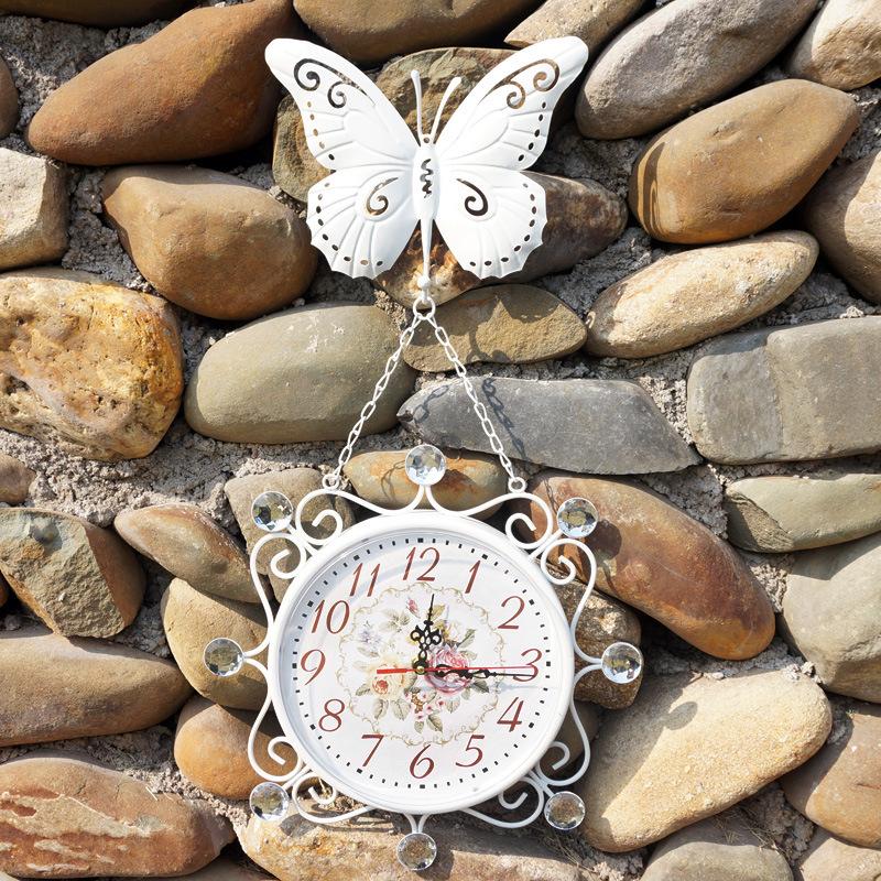 Good Service Metal butterfly Wall Clock Fashion Rustic free shipping(China (Mainland))
