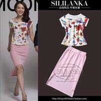 2014 spring twinset female print t-shirt short half-length skirt casual set