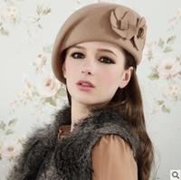 Autumn and winter british style double flower woolen beret women's cute little fedoras cap