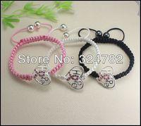 15pcs silver plated Crystal Rhinestones Sideways Heart Hope RIBBON BREAST CANCER Connectors beads Macrame Bracelets Adjustable