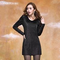 Pure 2014 plus size clothing mm spring one-piece dress ladies elegant slim long-sleeve basic