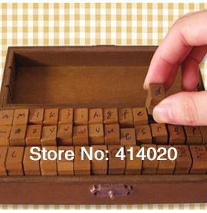 2014 Real Sale 42pcs/box/lot 18*6cm Vintage Box Decor Stamps Collection Set Alphabet Memento Gift Designer English Letters Stamp(China (Mainland))