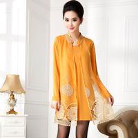 Free shipping Spring plus size one-piece dress mm slim thin fashion elegant long-sleeve plus size one-piece dress ts201