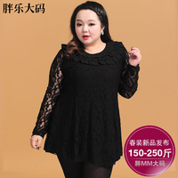 Plus size clothing 2014 spring plus size one-piece dress female lace dress XXXXXL