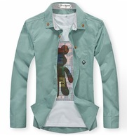 Fashionable men  Little mushroom embroidery slim long sleeve shirt, men  slim long  sleeve shirt  M-XXL