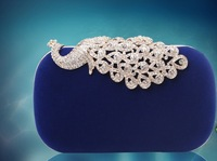 new arrival peacock lock dinner evening bag Austrian crystal diamond hard shell women clutch  bolsa--14H