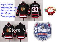 2014 Stadium Series Chicago Blackhawks Ice Hockey Jerseys #31 Antti Raanta Black Red Jersey Free shipping New Arrival !!!