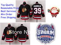2014 Stadium Series Chicago Blackhawks Ice Hockey Jerseys #39 Nikolai Khabibulin Black Red Jersey Free shipping New Arrival !!!