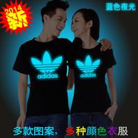 Free shipping Blue luminous t-shirt quality 100% cotton short-sleeve t-shirt lovers neon shampooers Sweater S-XXXL