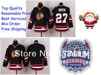 2014 Stadium Series Chicago Blackhawks Ice Hockey Jerseys #27 Johnny Oduya Black Red Jersey Free shipping New Arrival !!!