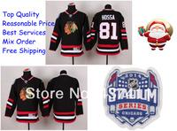 2014 Stadium Series Chicago Blackhawks Ice Hockey Jerseys #81 Marian Hossa Black Red Jersey Free shipping New Arrival !!!