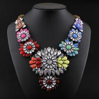 Brand Designer Flower Choker Women Necklaces & Pendants Fashion Statement Necklace 2014 Vintage Cute Luxury Big Pendant Necklace