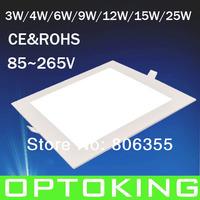 Ultra thin 3W/4W/6W/9W/12W/15W/25W led square ceiling light /down light /panel light , free shipping