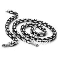Mens Byzantine  Cool 316L Stainless Steel Silver Black Fashion 7mm Necklace Chain Bracelet Set
